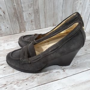 Suede Rory wedge pumps